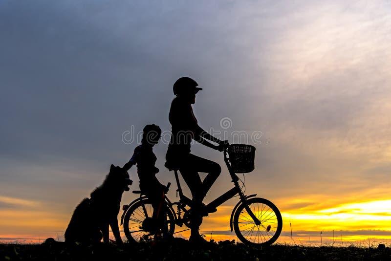 Sylwetka rowerzysty urocza rodzina przy zmierzchem nad oceanem Mama i córka z psem bicycling przy plażą zdjęcia stock