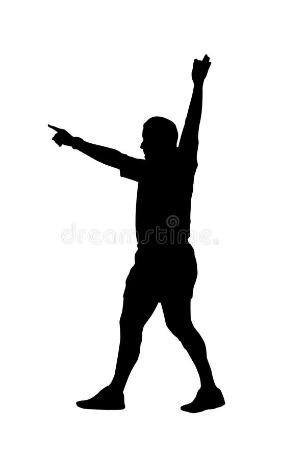 Sylwetka - Rugby Arbitra Wskazywania Źrebięcia Sztuka ilustracja wektor