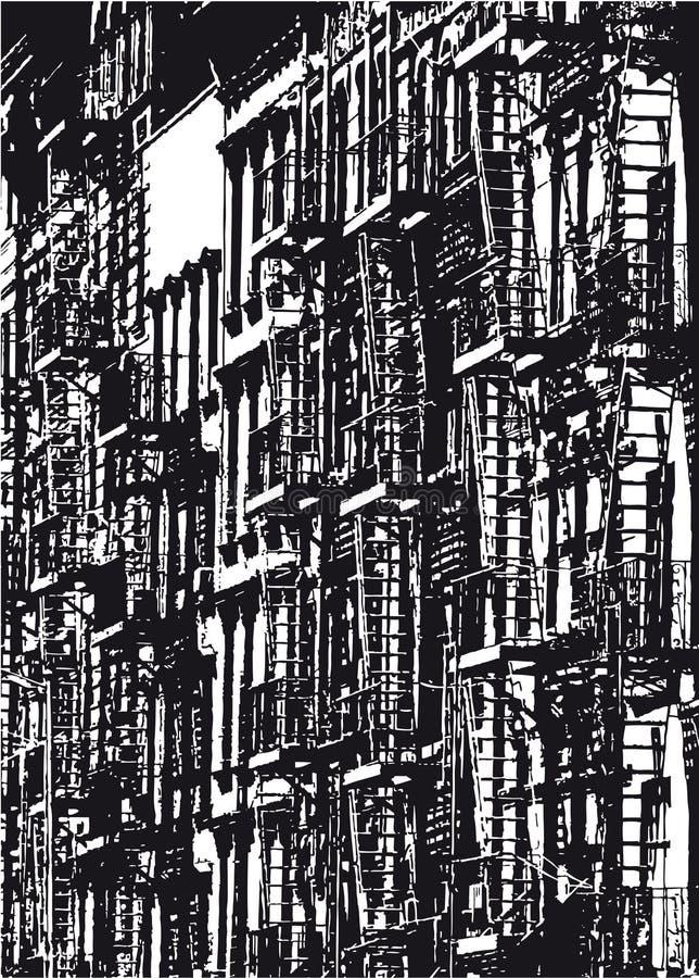 Sylwetka rząd domy w Miasto Nowy Jork w czarny i biały royalty ilustracja