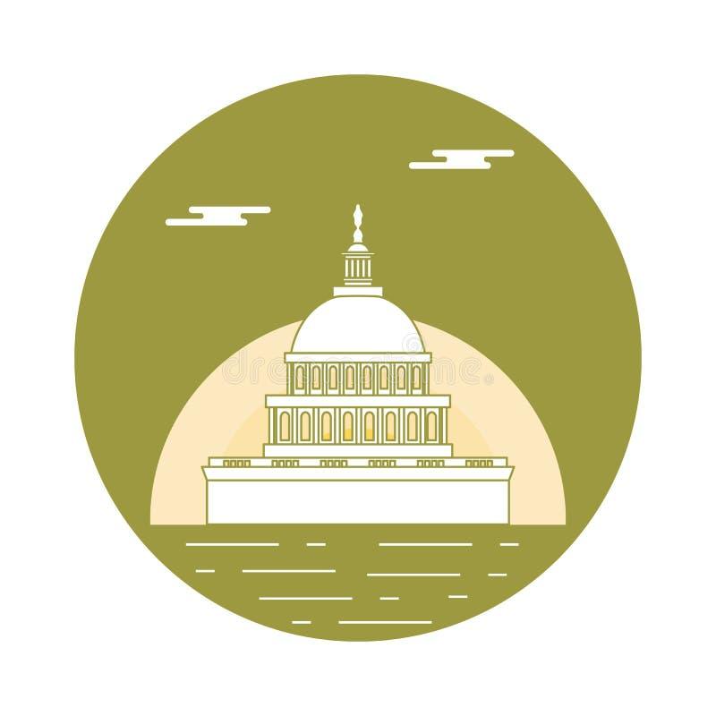Sylwetka sławny budynek w usa Capitol buduje o ilustracji