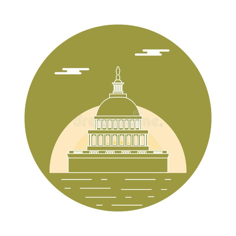Sylwetka sławny budynek w usa Capitol buduje o royalty ilustracja