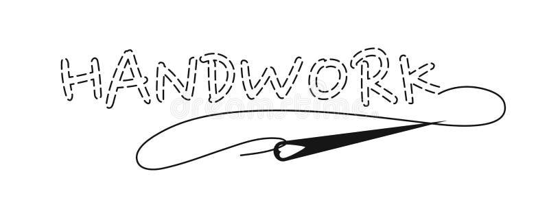 Sylwetka słowa Handwork z przerywającym konturem, szew imitacja ilustracja wektor