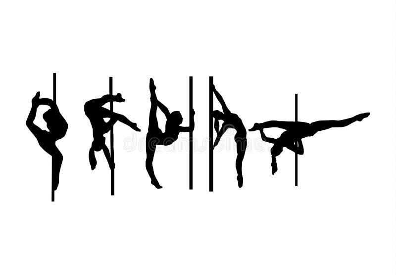 Sylwetka słupów tancerzy wektoru ilustracja ilustracji