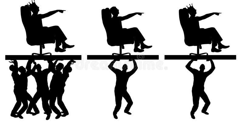 Sylwetka samolubny mężczyzna z koroną na jego kierowniczym obsiadaniu w karle, wskazuje zaludniać gdzie ruszać się co niesie on, ilustracji