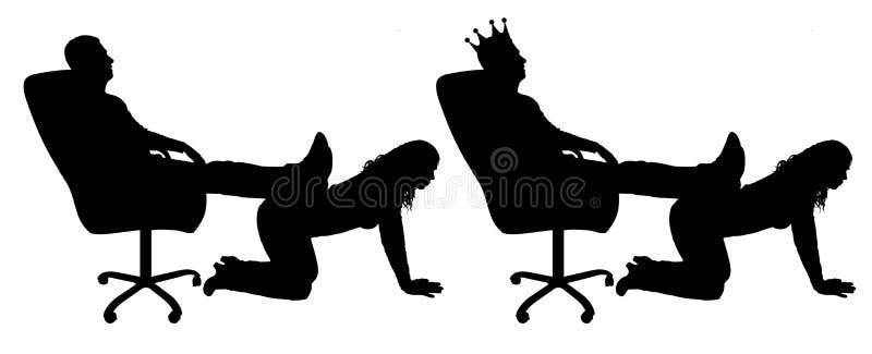 Sylwetka samolubny mężczyzna z koroną na jego kierowniczym obsiadaniu w krześle, rzucał z powrotem jego nogi na kobiety ` s plecy ilustracji