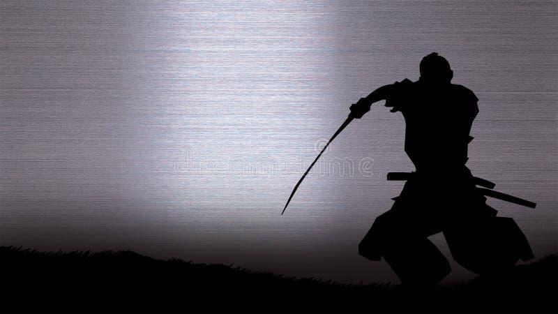 Sylwetka samuraj ilustracji