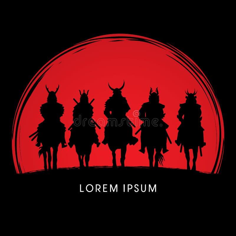 Sylwetka, samuraja wojownika jeździecki koń ilustracji