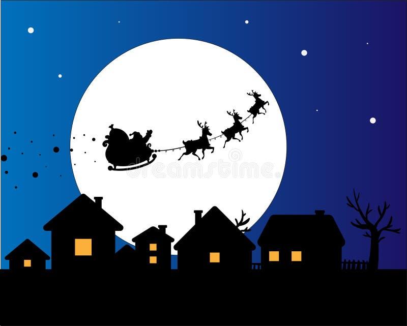 Sylwetka Santa z reniferem w niebie zdjęcia stock