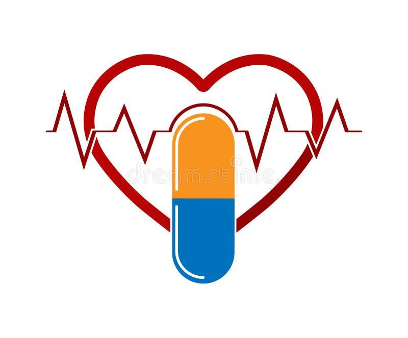 Sylwetka serce z ECG i kapsuły medycynami, płaski wizerunek royalty ilustracja