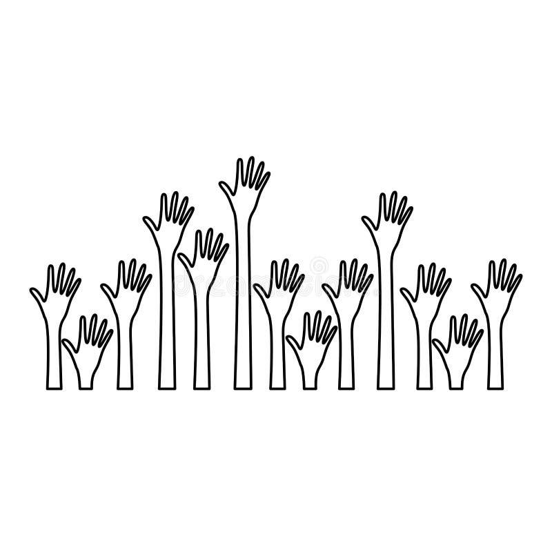 sylwetka setu ręki up i rozpieczętowana ikona royalty ilustracja