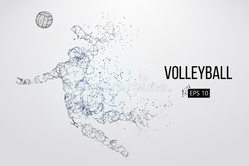 Sylwetka siatkówka gracz również zwrócić corel ilustracji wektora ilustracji