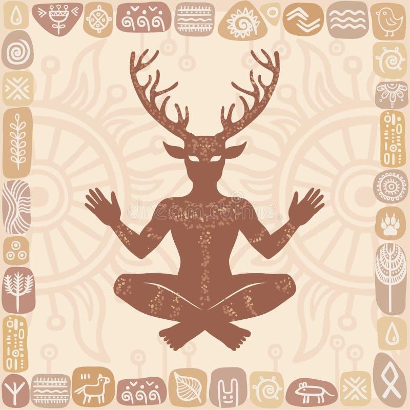 Sylwetka siedzący rogaty bóg Cernunnos Mistycyzm, ezoteryk, pogaństwo, okultyzm royalty ilustracja