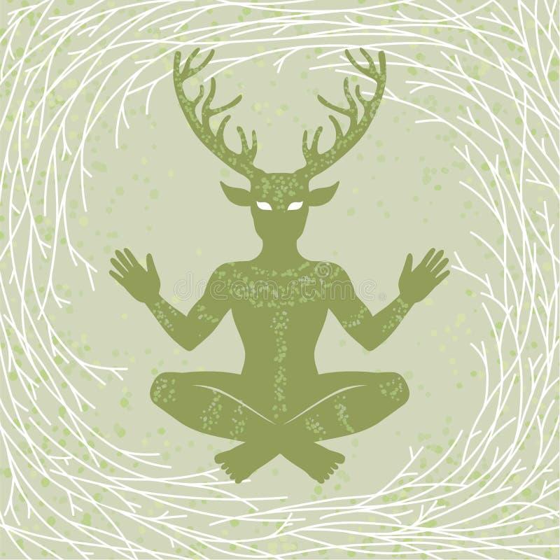 Sylwetka siedzący rogaty bóg Cernunnos Mistycyzm, ezoteryk, pogaństwo, okultyzm ilustracji