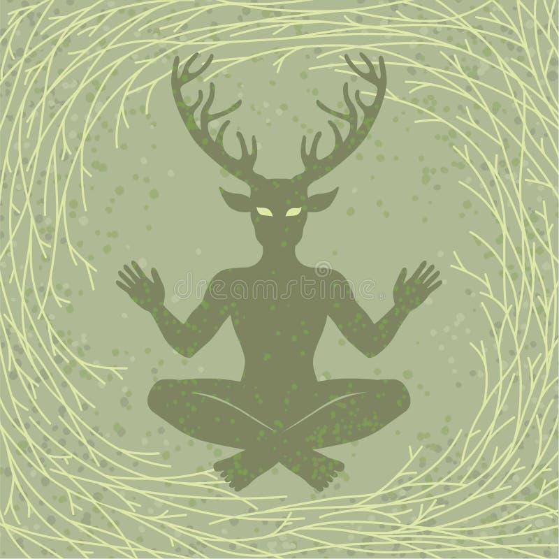 Sylwetka siedzący rogaty bóg Cernunnos Mistycyzm, ezoteryk, pogaństwo, okultyzm ilustracja wektor