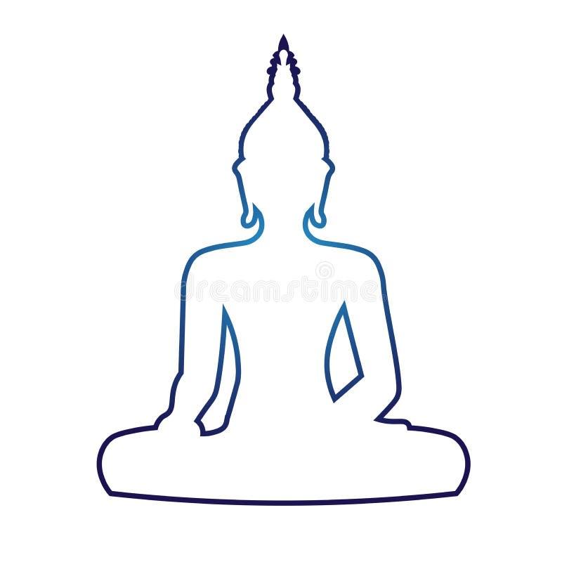 Sylwetka siedzieć Buddha na białym tle również zwrócić corel ilustracji wektora ilustracji