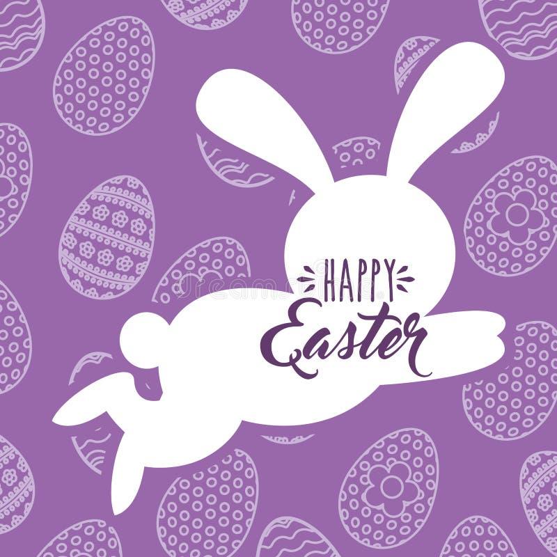 Sylwetka skokowego królika Easter jajka szczęśliwy tło royalty ilustracja