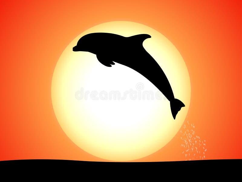 Sylwetka skokowy delfin przeciw zmierzchowi royalty ilustracja
