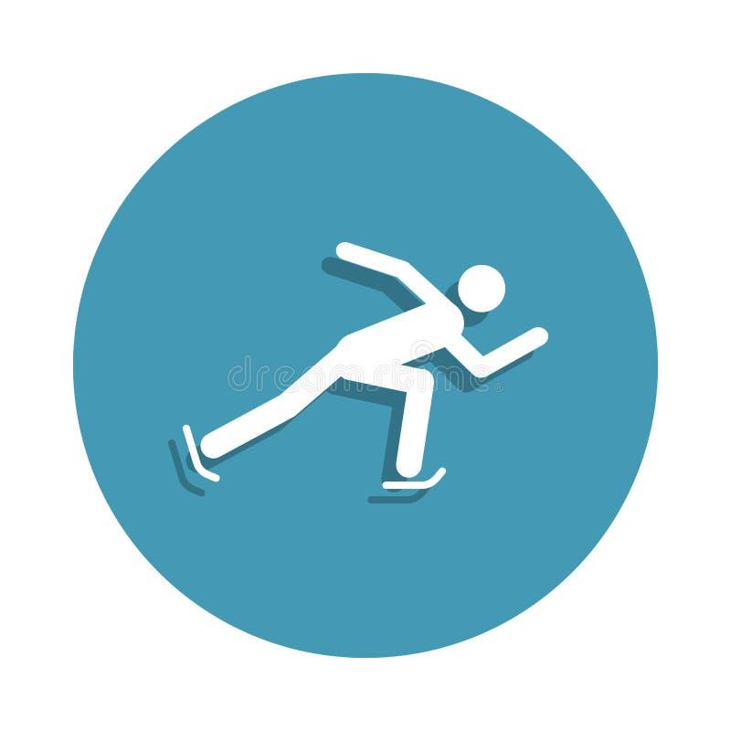 Sylwetka skrótu śladu prędkości łyżwiarska ikona w odznaka stylu Jeden zima sportów inkasowa ikona może używać dla UI, UX royalty ilustracja