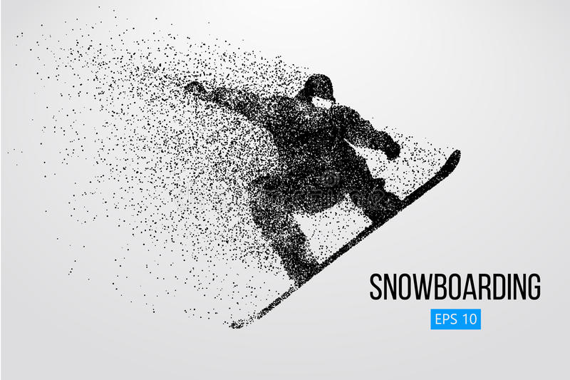 Sylwetka snowboarder doskakiwanie odizolowywający również zwrócić corel ilustracji wektora