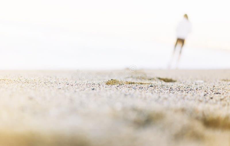 Sylwetka spaceruje wzdłuż linii brzegowej plaży na słonecznego dnia tle morze i niebo mężczyzna, złocisty piasek zamknięty w górę fotografia stock