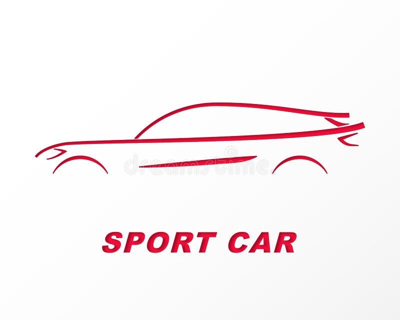 Sylwetka sporta samochód rzeźbił na papierze ilustracja wektor