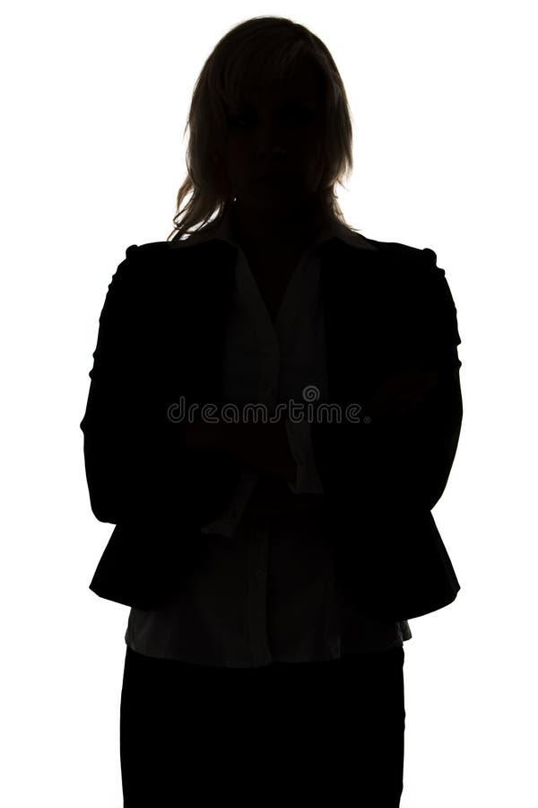 Sylwetka stać biznesowej kobiety fotografia royalty free