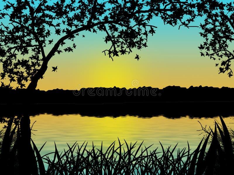 sylwetka sunset drzewa wody ilustracja wektor