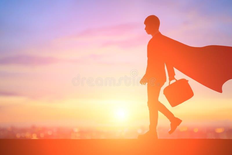 Sylwetka super biznesmen zdjęcie stock