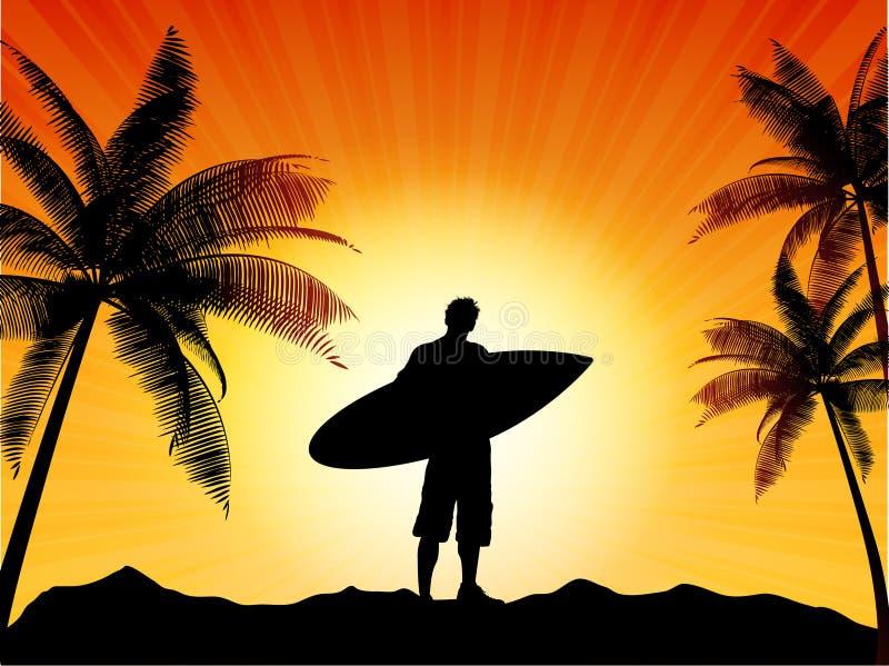 sylwetka surfingowiec ilustracji