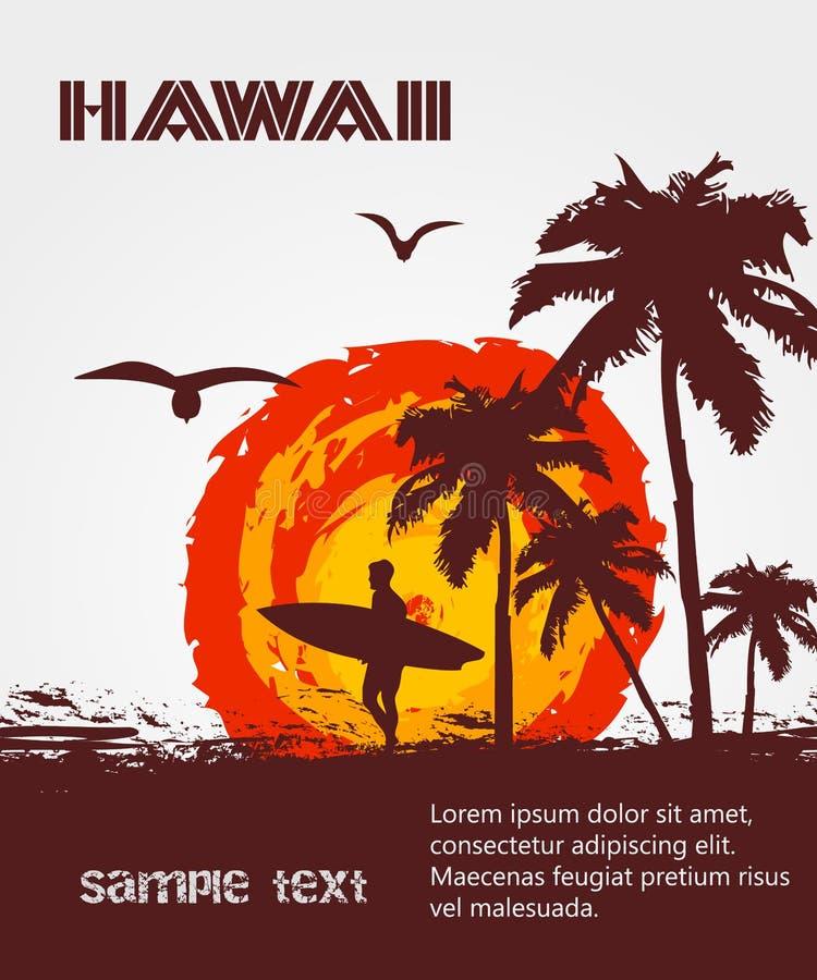 Sylwetka surfingowiec, tropikalna plaża royalty ilustracja
