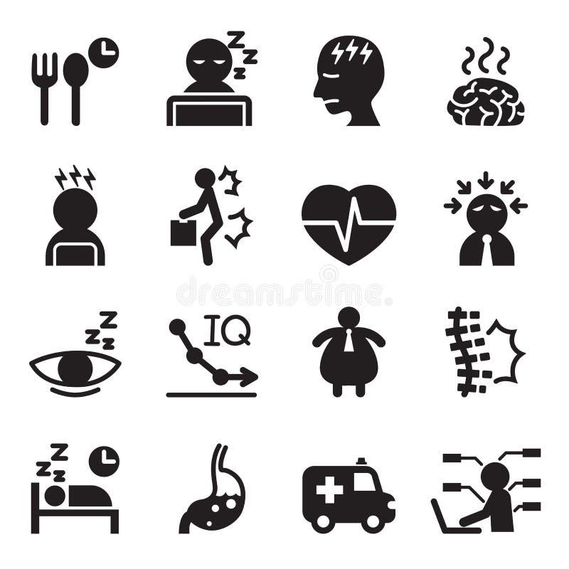 Sylwetka syndromu biurowe ikony ustawiać royalty ilustracja