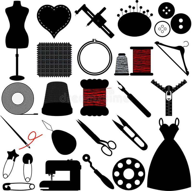 Sylwetka Szy narzędzia royalty ilustracja