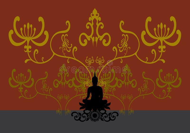 Sylwetka Tajlandzki Buddha ilustracja wektor