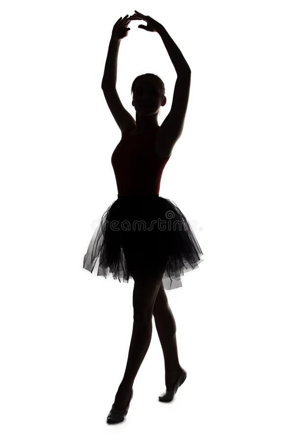 Sylwetka tancerz dziewczyna z rękami up fotografia royalty free