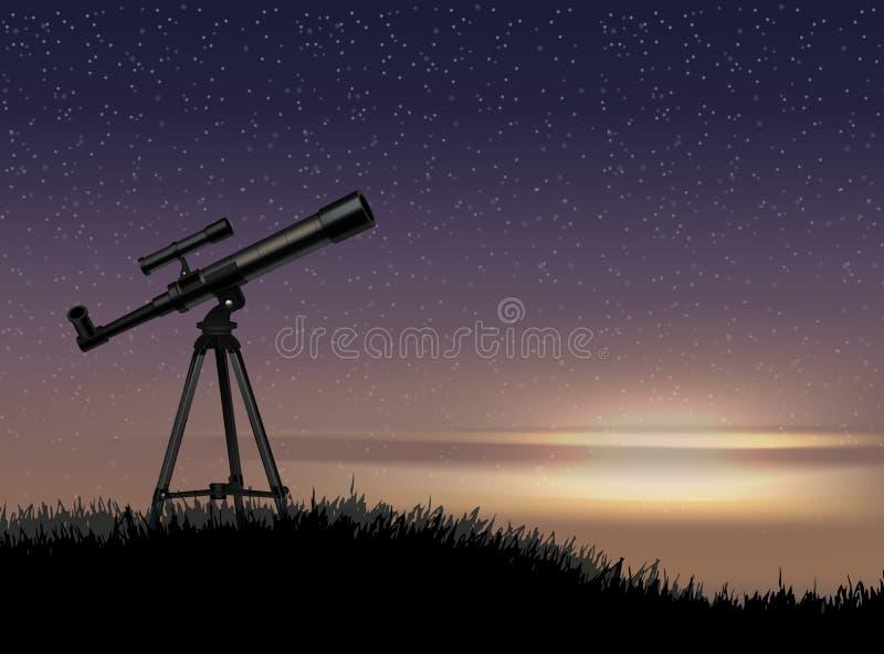 Sylwetka teleskop na skale z gwiazdą przy niebo zmierzchem ilustracji