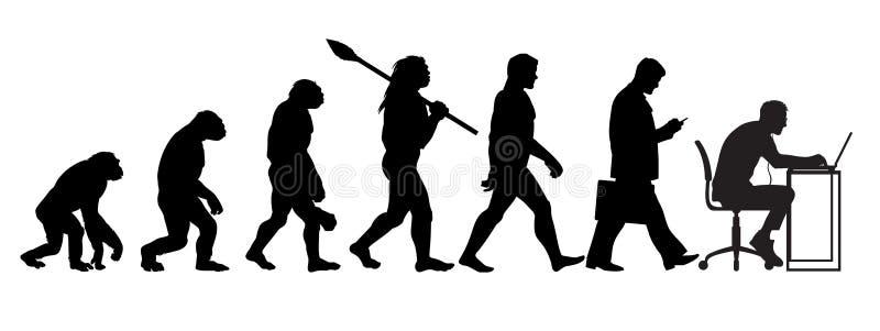 Sylwetka teoria ewolucji mężczyzna royalty ilustracja