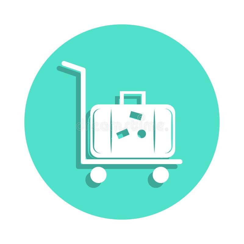 sylwetka toczny bagażu trolly, fura z bagażem na nim lub ikona w odznaka stylu Jeden podróży inkasowa ikona może używać dla ilustracji