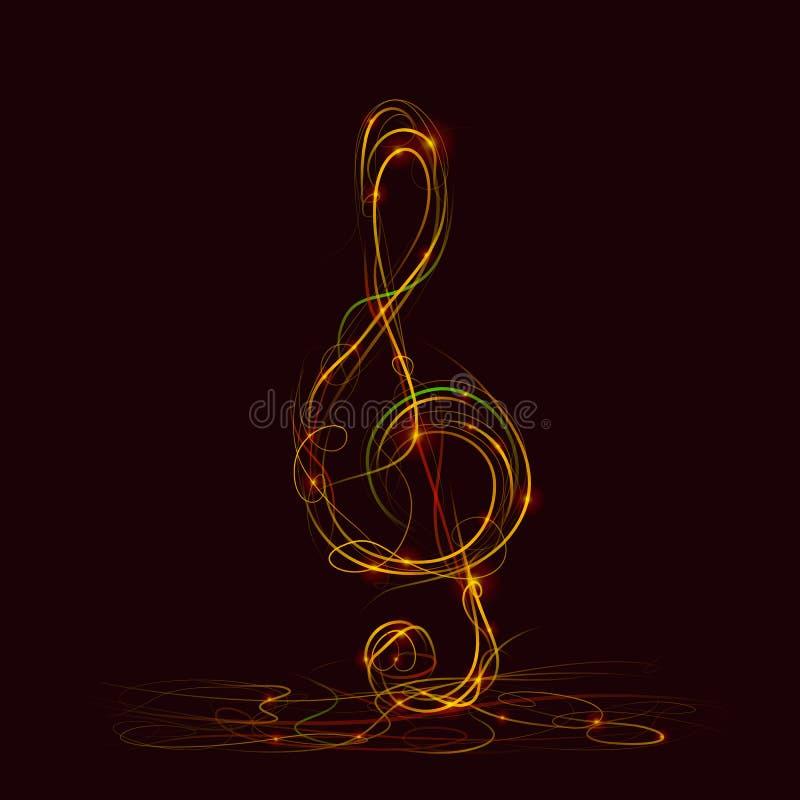 Sylwetka treble clef ogień ilustracja wektor