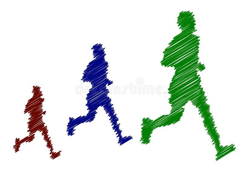 Sylwetka trzy narastającego biegacza royalty ilustracja
