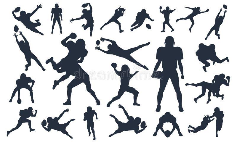 Sylwetka ustawiający futbol amerykański gracze, wektor paczka, różnorodny poza set, super bowl, futbolu amerykańskiego gracza wek ilustracji