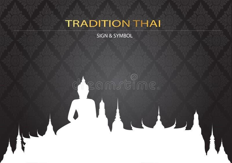 Sylwetka Wat w Bangkok Thailand na deseniowym tle royalty ilustracja