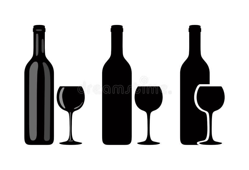 Sylwetka wina szkło na białym tle i butelka wektor ilustracji