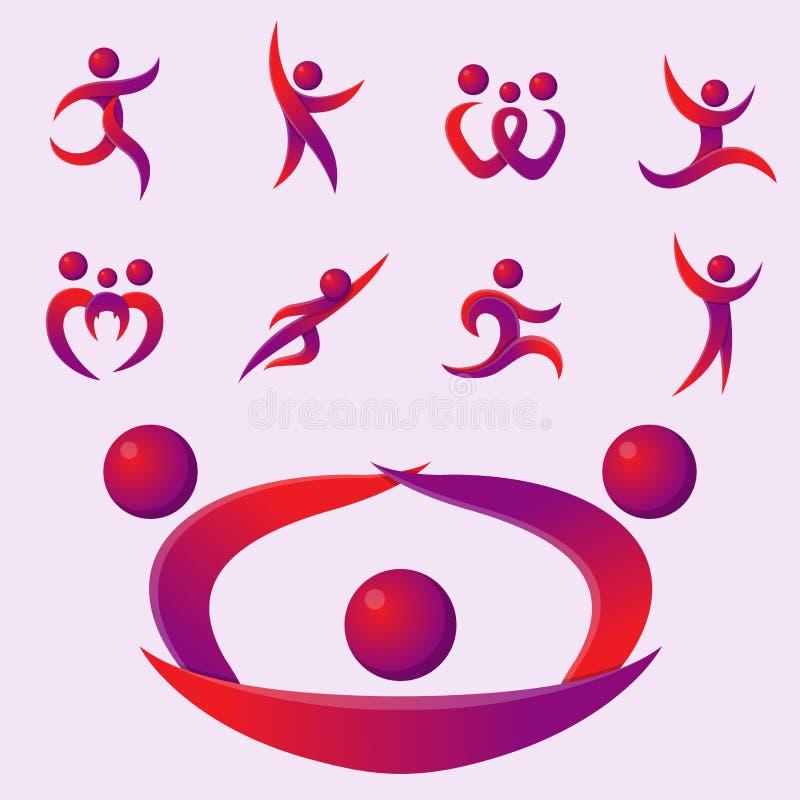Sylwetka występu charakteru loga postaci pozy wektoru ludzkiej ilustraci abstrakcjonistyczni ludzie ilustracji
