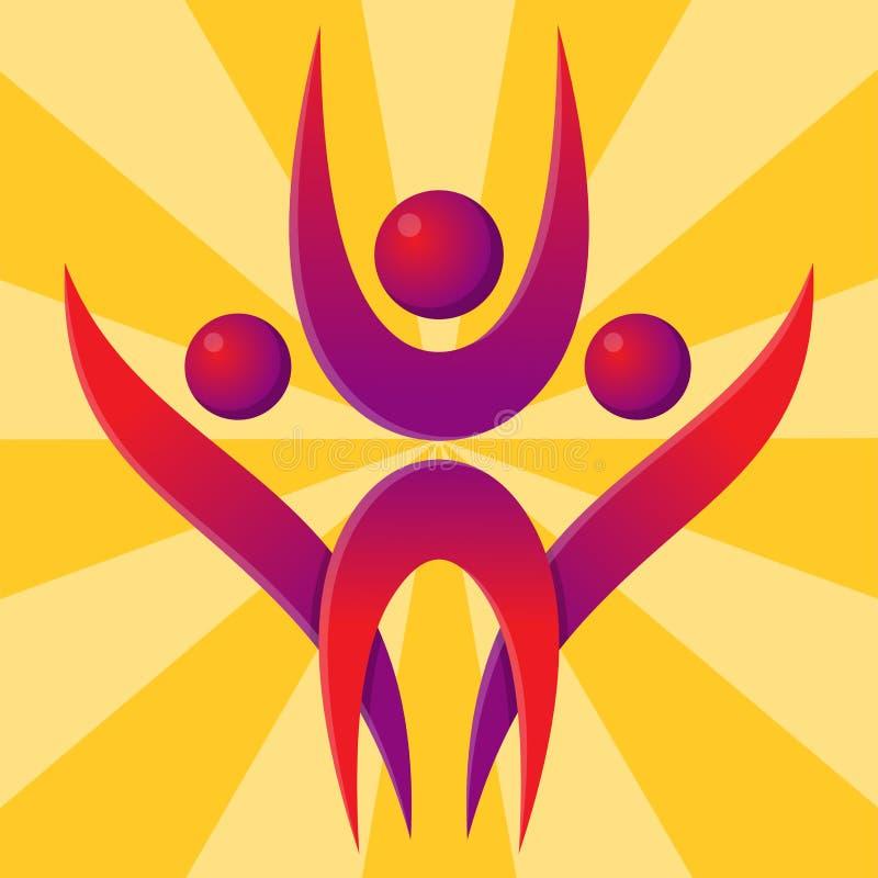 Sylwetka występu charakteru loga postaci pozy wektoru ludzkiej ilustraci abstrakcjonistyczni ludzie royalty ilustracja