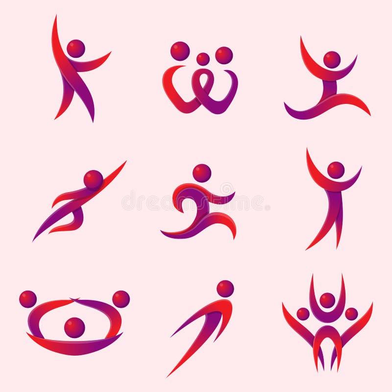 Sylwetka występu charakteru loga postaci pozy wektoru ludzkiej ilustraci abstrakcjonistyczni ludzie ilustracja wektor