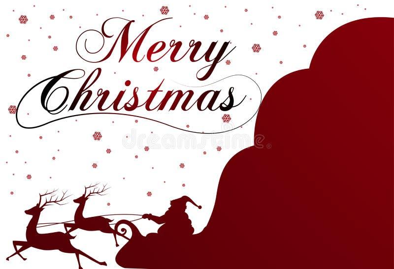 Sylwetka z Święty Mikołaj pełno i torbą prezenty na zimy tle Kreskówki scena literowanie Wesoło boże narodzenia ilustracji