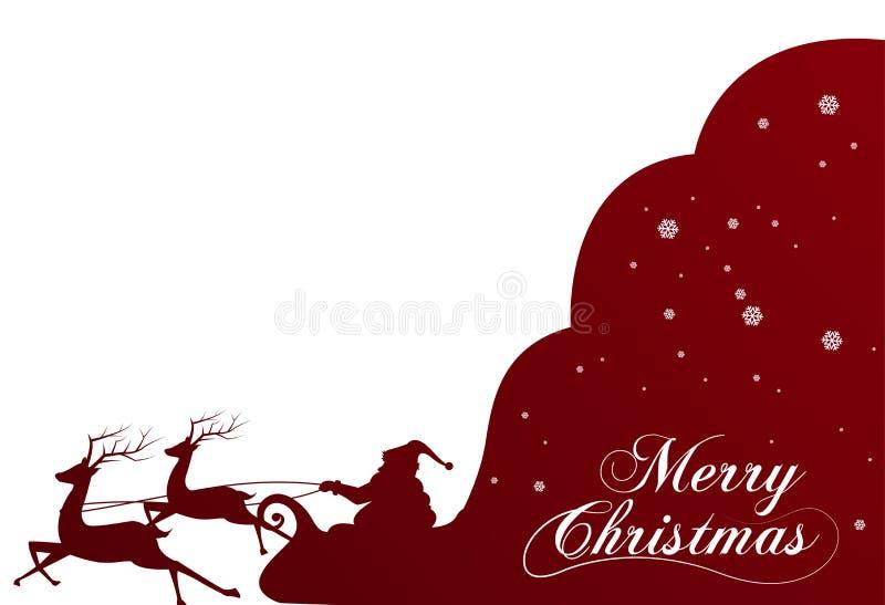 Sylwetka z Święty Mikołaj pełno i torbą prezenty na zimy tle Kreskówki scena literowanie Wesoło boże narodzenia royalty ilustracja