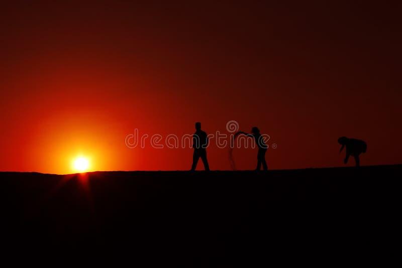 sylwetka zmierzch przy Jaisalmer Thar pustynią India fotografia royalty free