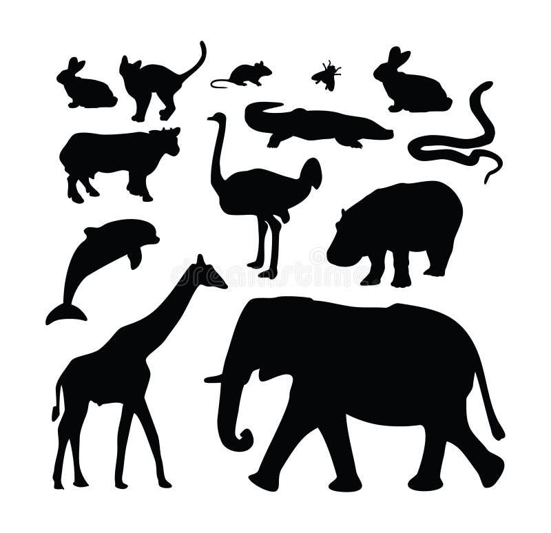 sylwetka zwierzęcy inkasowy zoo ilustracji