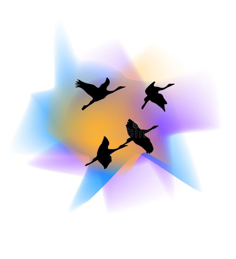Sylwetki żurawie przeciw zmierzchu tłu royalty ilustracja